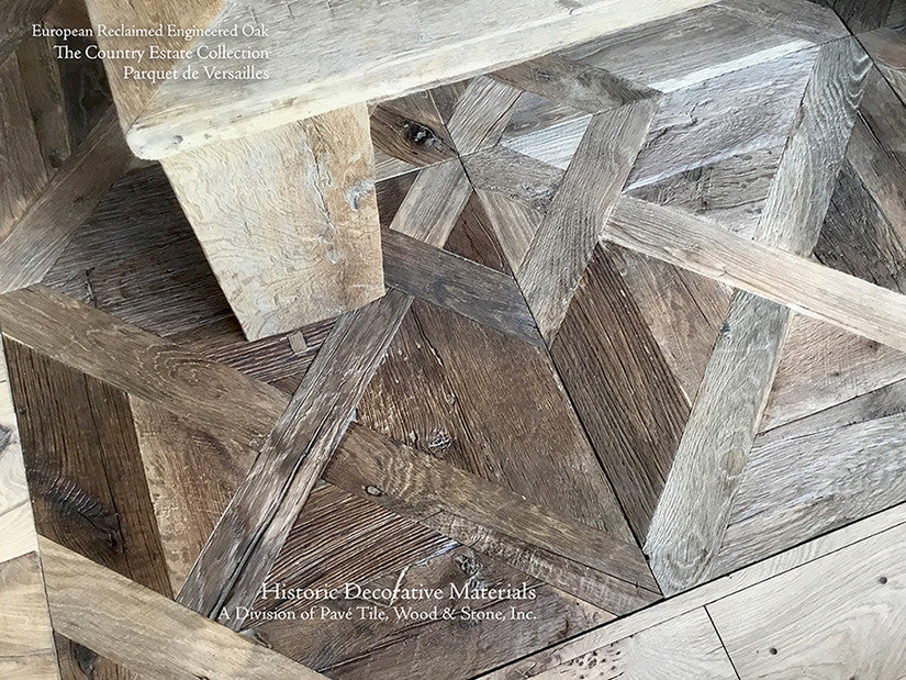 Hand Finished Reclaimed Engineered European Oak Floors in Parquet de Versailles Pattern II