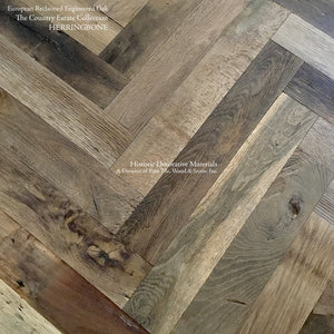 Hand Finished Reclaimed Engineered European Oak Floors in Herringbone Pattern