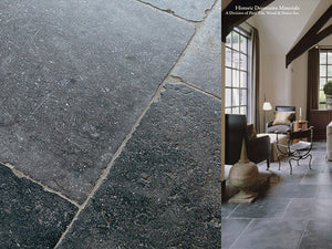 17th Century Antwerp Hand Finished Vintage Antiqued Belgian Bluestone Flooring