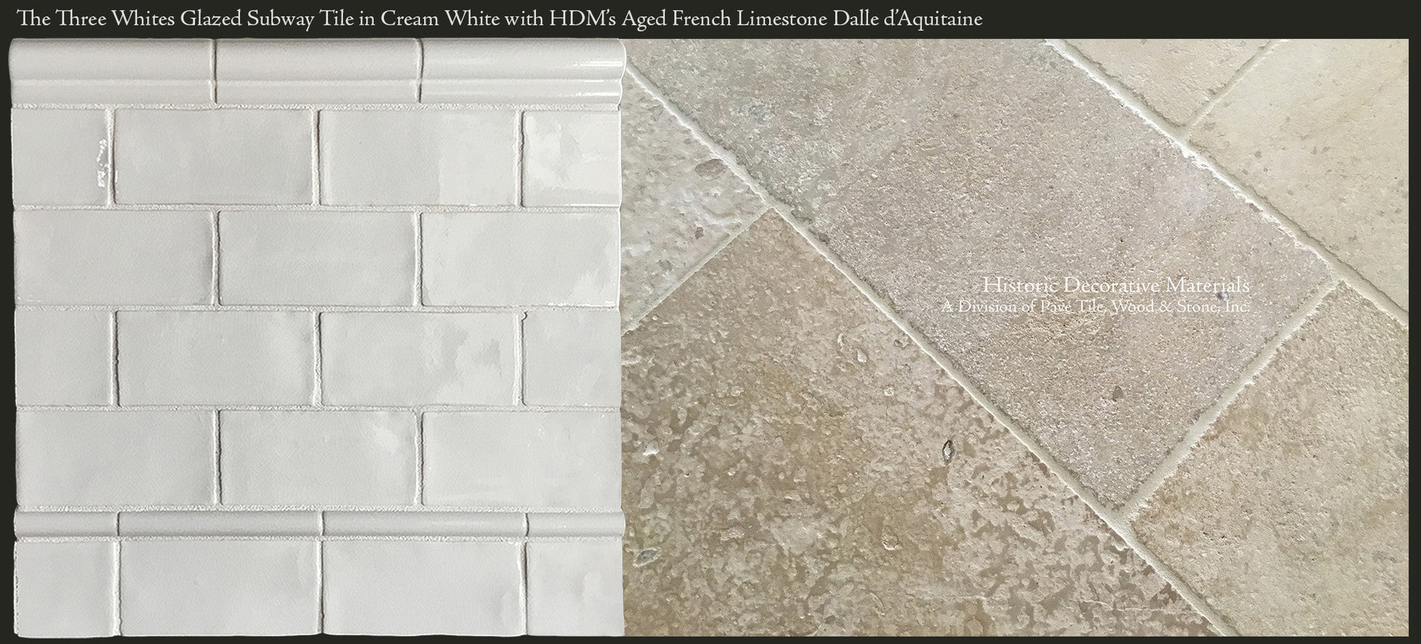 Ceramic glazed 3 x 6 subway tiles for kitchen back splash and three whites subway tile in perfect cream white beautifully paired with aged french limestone dalle d dailygadgetfo Choice Image
