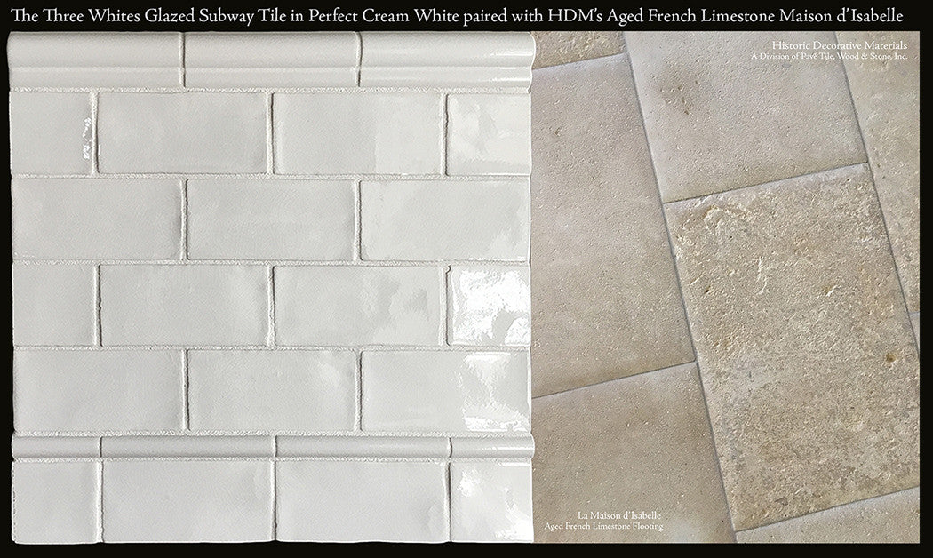 three whites ceramic glazed 3 x 6 subway tile and chair rail