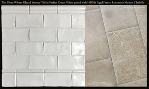 Three Whites Subway Tile in Perfect Cream White Beautifully Paired with Aged French Limestone Maison d'Isabelle