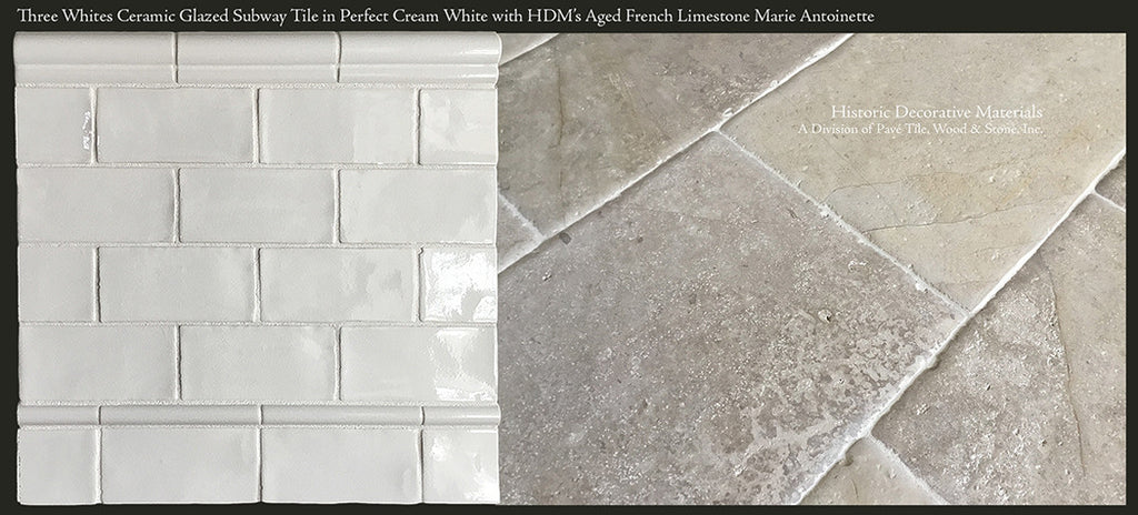 "Three Whites Glazed Ceramic 3"" x 6"" Subway Tile in Perfect Cream White paired with Aged French Limestone Marie Antoinette"