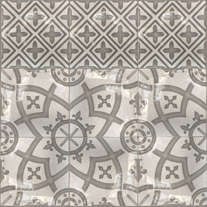 Carriage House English Encaustic Tile Collection - Coat of Arms & Points of Light on Vintage Warm White