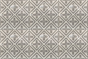 Carriage House English Encaustic Tile Collection - Points of Light on Vintage Warm White