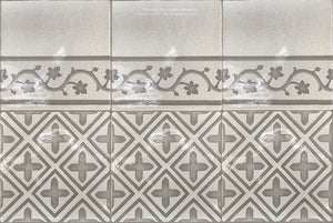 Carriage House English Encaustic Tile Collection - Points of Light & Oak Leaf Border on Vintage Warm White