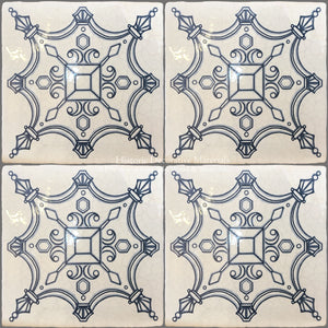 16th Century Italian Decorative Tile:  House of Medici on Vintage Warm White Field Tile