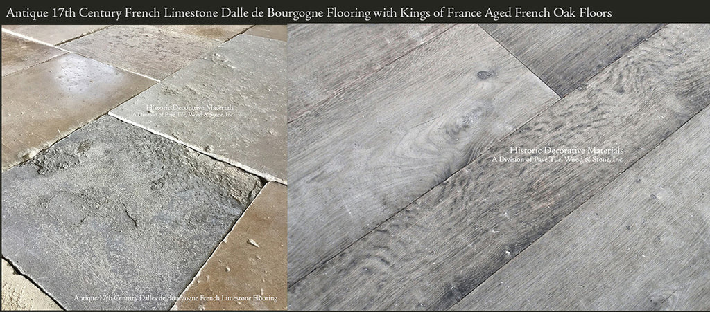 Antique Dalle de Bourgogne French Limestone with Kings of France Aged Oak Wide Plank Floors