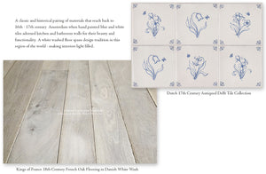 Dutch Blue Delft Tiles for Kitchen Backsplash and White Wash oak Floors