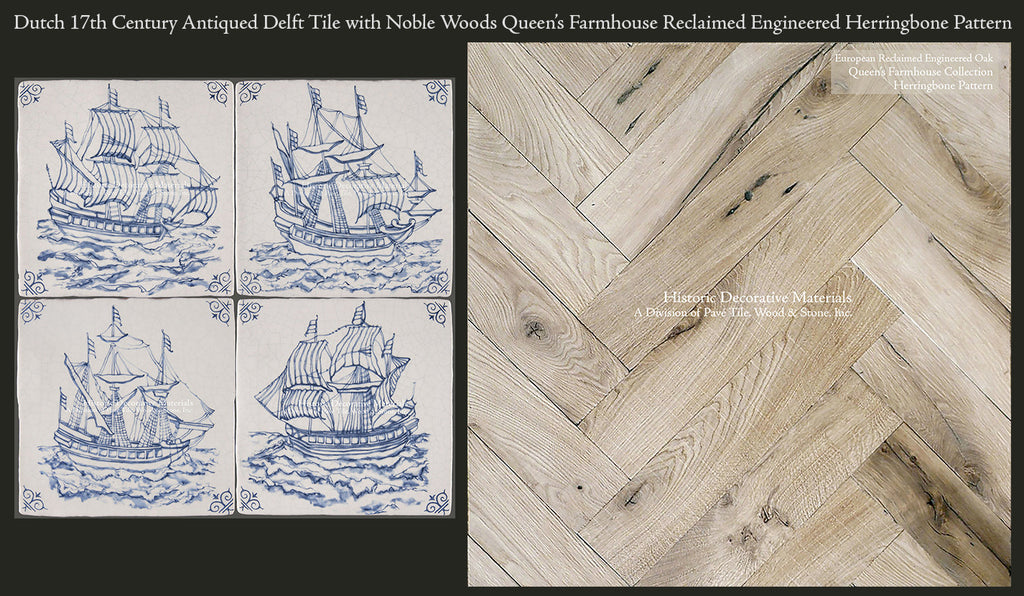 Dutch 17th Century Antiqued Delft Tile Paired with Queen's Farmhouse 200 Year Old Reclaimed Oak Herringbone Pattern Floor