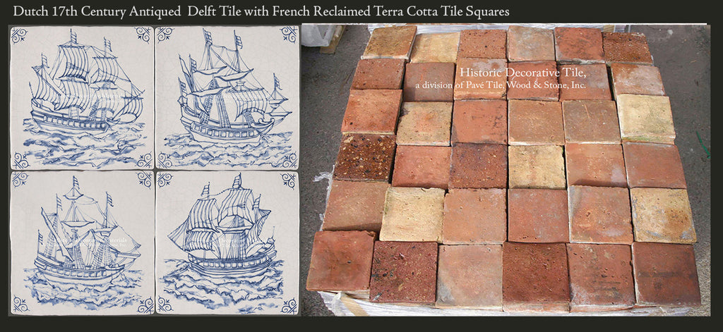Dutch 17th Century Antiqued Delft Tile with French Reclaimed Terra Cotta Tile Squares
