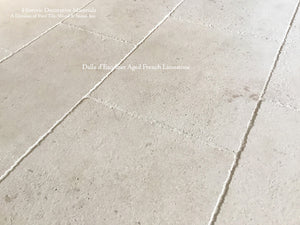 Aged French Limestone Flooring from France Dalle d'Escoffier is a Tone-on-Tone White Limestone with Soft Patina.