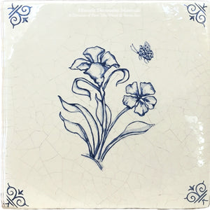 Flower 4 - Antiqued Delft Tile on Vintage Warm White Field