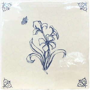 Flower 3 - Antiqued Delft Tile on Vintage Warm White Field