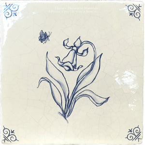 Flower 1 within Set of 4 Delft Flower Tiles on Vintage Warm White Field