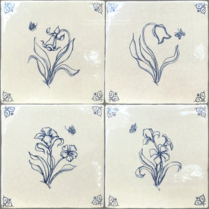 Set of 4 Delft Flower Tiles on Vintage Warm White Field