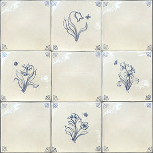 Set of 4 Delft Flower Tiles + Oxtail Corner Tiles on Vintage Warm White Field