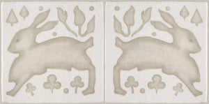 Gardens in the Cloister 16th Century French Encaustic Decorative Tile: Lapin