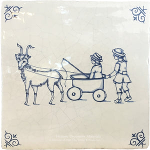 Antiqued Delft Tile My Friend Goat on Vintage Warm White Field Tile