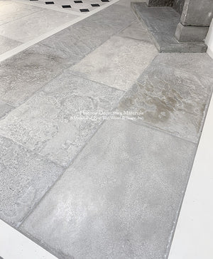 Antiqued Grey Barr or Bar Gris French Limestone Flooring