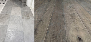 Kings of France 18th Century French Oak Flooring: CÈPES + Antiqued Grey Barr French Limestone Flooring