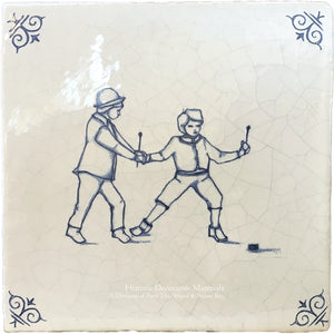Antiqued Delft Tile Hockey on Vintage Warm White Field Tile
