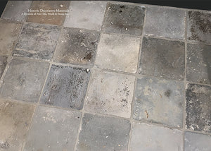"RARE LOT: From Holland  9"" x 9""  Multi-hued Grey Reclaimed Terra Cotta Tile Floors"