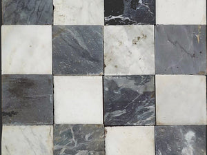 Antique Italian Black and White Nero & Bianco Carrara Marble Checkered Stone Flooring