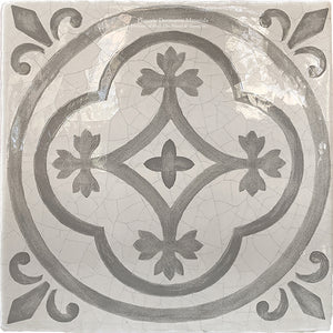 Carriage House English Encaustic Tile - English Rose on Vintage Warm White