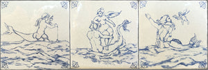Antiqued Delft Tile Sea Creatures on Vintage Warm White Field Tile