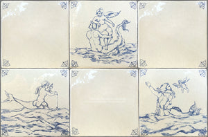 Antiqued Delft Tile Sea Creatures + Oxtail Corner Tiles on Vintage Warm White Field Tile