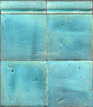 A Jeweled Majolica Wall Tile Collection - Laguna Blu Tile + Chair Rail