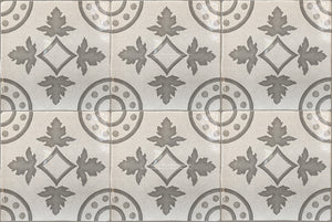 Carriage House English Encaustic Tile Collection - Oak Leaf Compass on Vintage Warm White