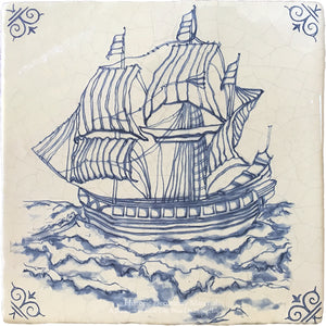 Antiqued Delft Tile - Let's Find Treasures on Vintage Warm White Field