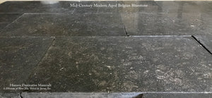 Prepping for Pavé showroom installation Mid-Century Modern Aged Belgian Bluestone