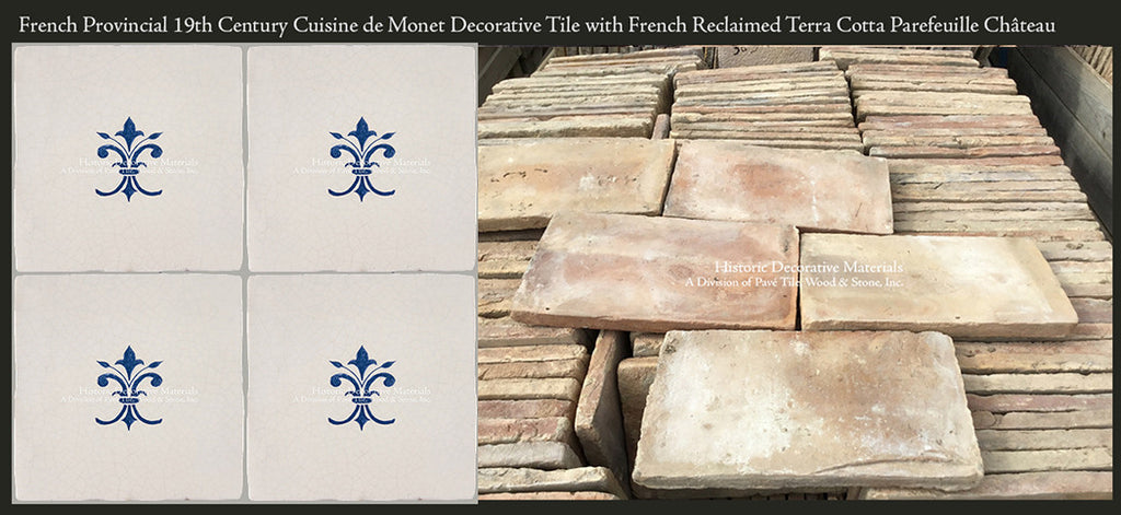French Provincial Blue and White Cuisine de Monet Tile with French Reclaimed Terra Cotta Tile Parefeuille
