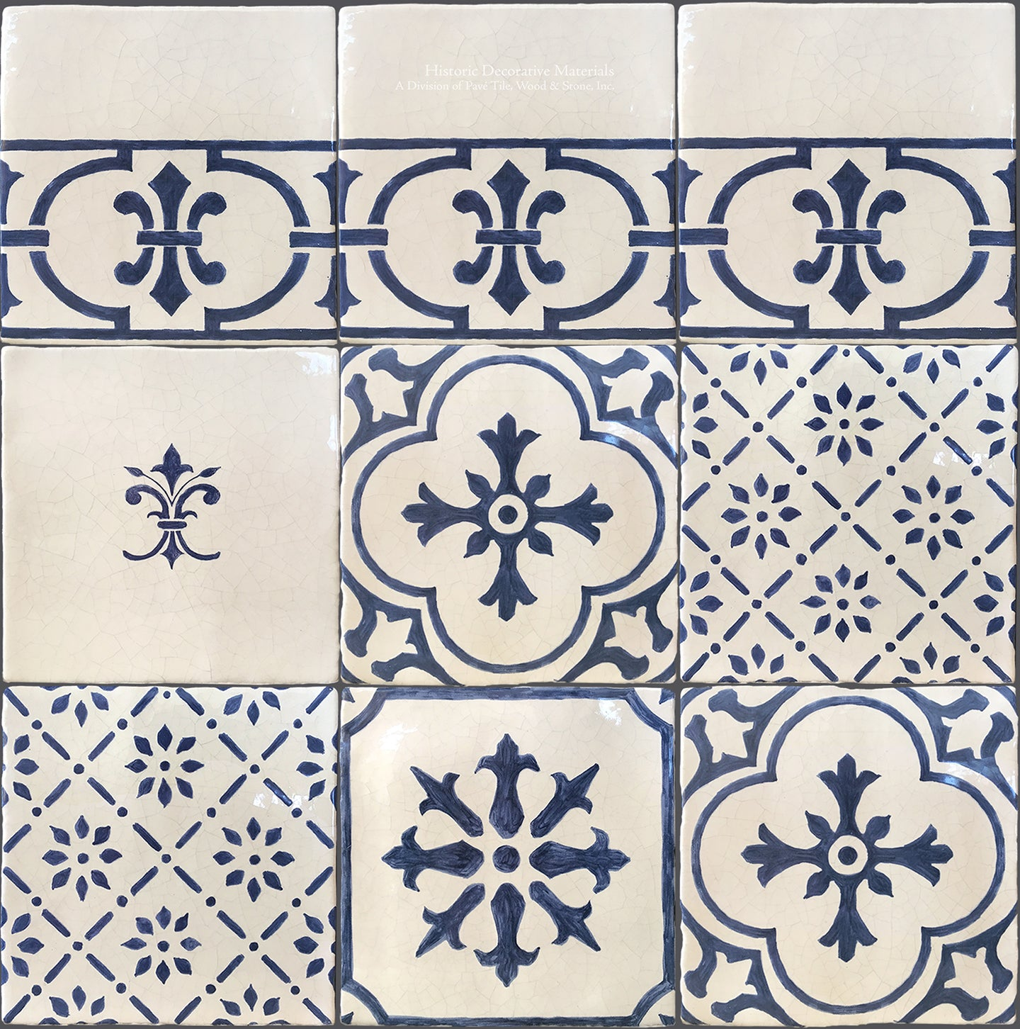 Monet S Blue And White Decorative Wall Tiles For Kitchens And Baths Historic Decorative Materials A Division Of Pave Tile Wood Stone Inc