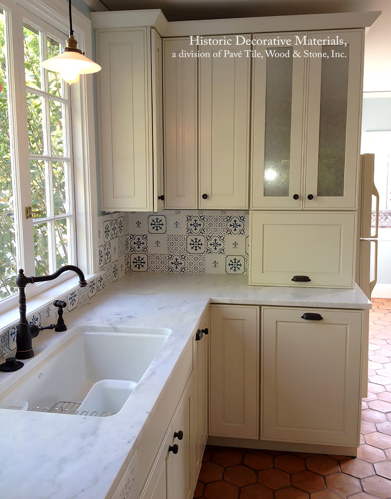 French Provincial Blue and White Cuisine de Monet Tile with French Reclaimed Hexagon Tiles