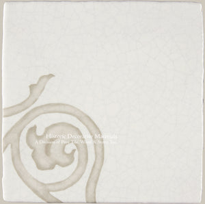 "French Encaustic Decorative Wall Tile ""Tulip Corner"""