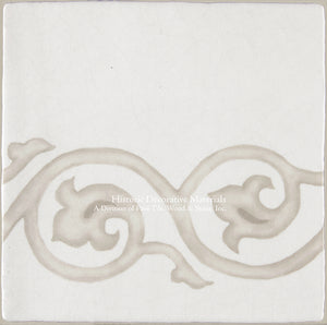 "French Encaustic Decorative Wall Tile ""Tulip Border"""
