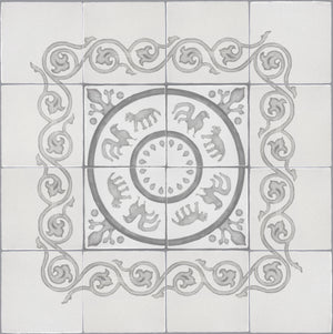 French Encaustic Decorative Wall Tile for Kitchens, Baths and Fireplace Surround Tiles