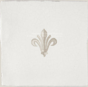 "French Encaustic Decorative Wall Tile ""Petit Prince's Fleur de Lys"""