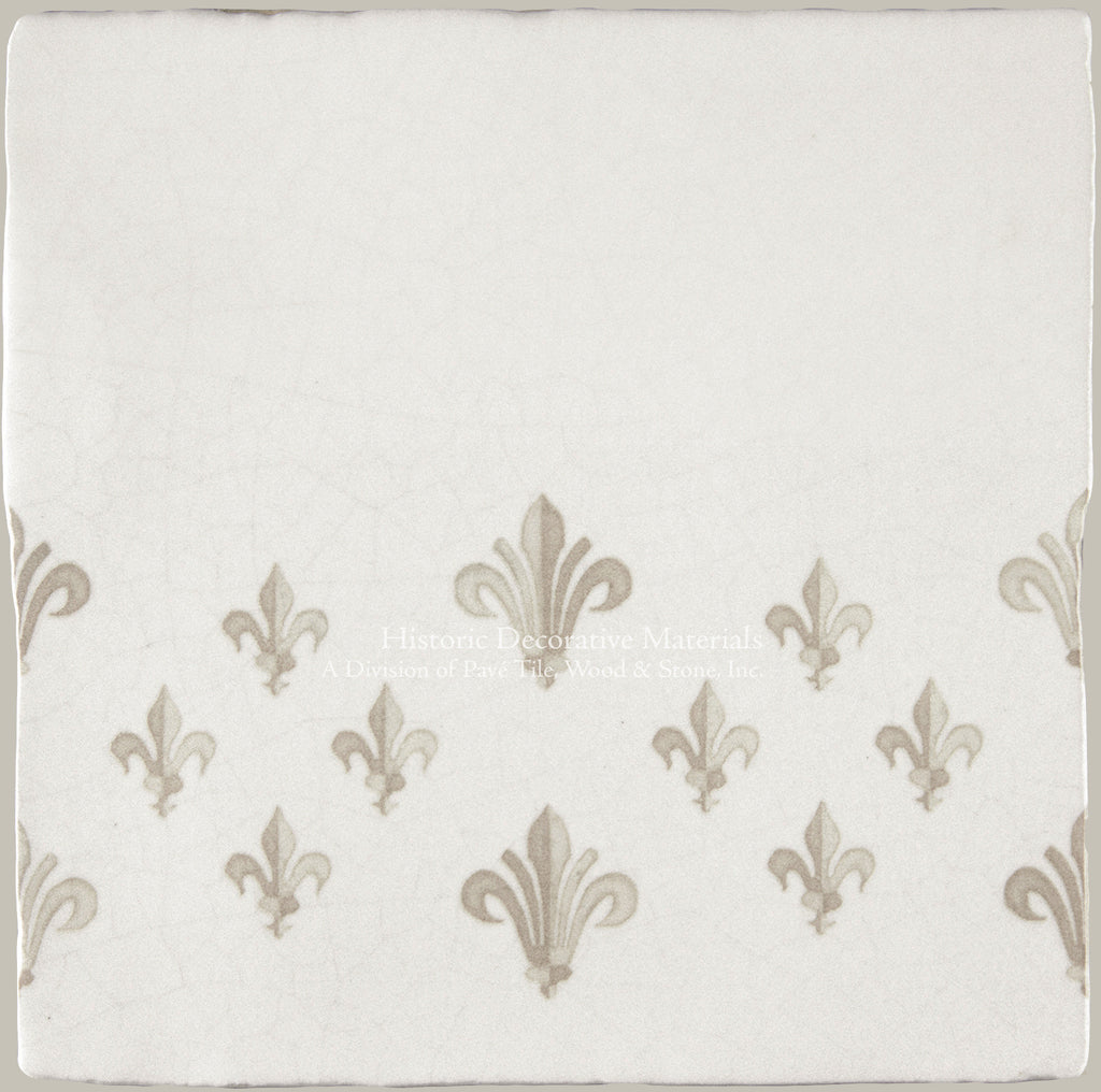 "French Encaustic Decorative Wall Tile ""Fleur de Lys Border"""