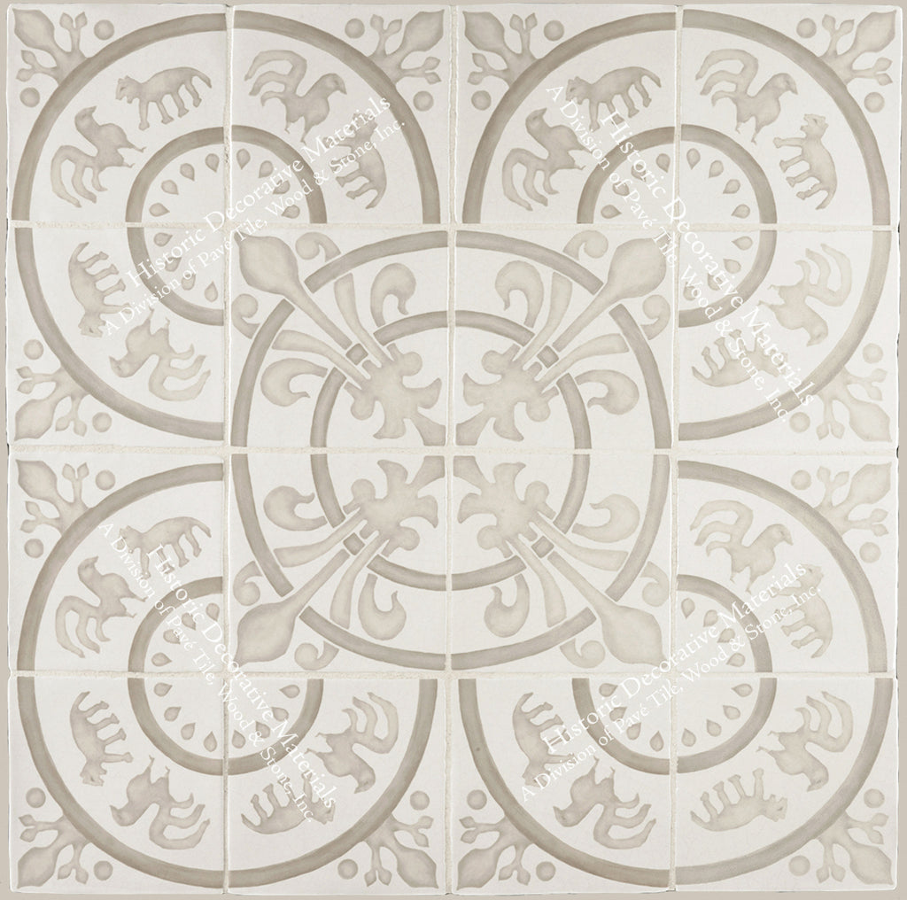 "French Encaustic Decorative Wall Tile "" Rosace: Queen's Country House"""