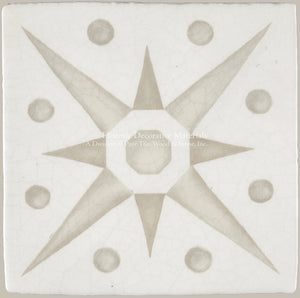 "French Encaustic Decorative Wall Tile ""Star"""