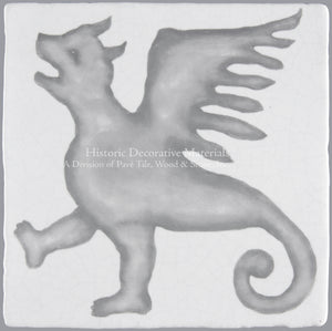 "French Encaustic Decorative Wall Tile ""Winged Dog"""