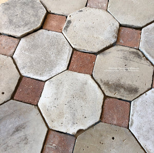 17th Century Reclaimed French Limestone Octagon with French Reclaimed Terra Cotta Tile Cabochon