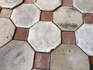 17th Century Antique French Limestone Octagon + Reclaimed French Terra Cotta Tile Cabochon