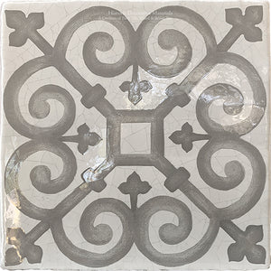 Carriage House English Encaustic Tile Collection - Queen's Medallion on Vintage Warm White