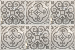 Carriage House English Encaustic Tile Collection - Queen's Medallion & English Rose on Vintage Warm White